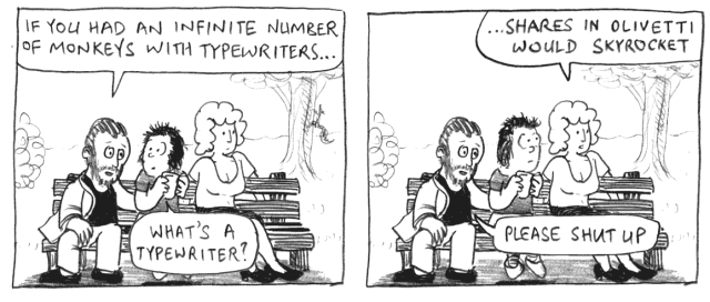 An infinite number of monkeys with typewriters